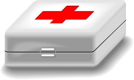first aid box.